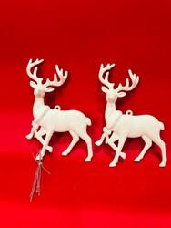 Parti Dünyası - Simli Beyaz Geyik Çam Ağacı Süsü 2 Adet 10 x 12 cm