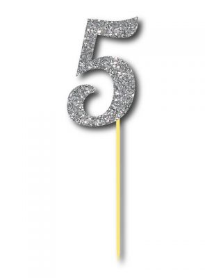 Simli Gümüş Renk 5 Rakamı