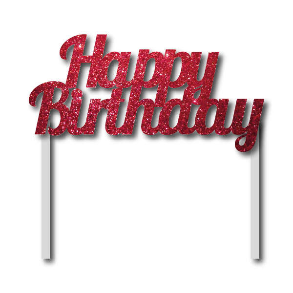 Simli Kımızı Happy Birthday Çubuklu Yazı