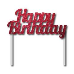 Parti Dünyası - Simli Kımızı Happy Birthday Çubuklu Yazı