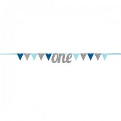 Parti Dünyası - Simli ONE Mavi Bayrak Afiş