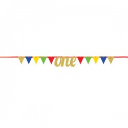 Parti Dünyası - Simli ONE Renkli Bayrak Afiş