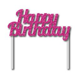 Parti Dünyası - Simli Pembe Happy Birthday Çubuklu Yazı