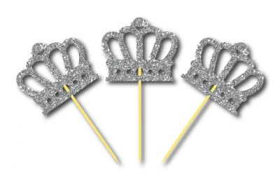 Simli Gümüş Renk Prens Tacı Kürdan 3 Adet