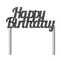 Parti - Simli Siyah Happy Birthday Çubuklu Yazı