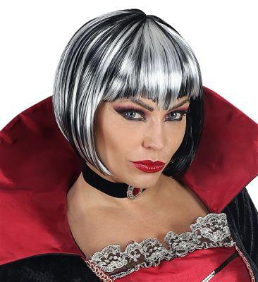 Siyah-Beyaz Halloween Kadın Peruk