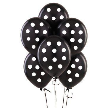Parti Dünyası - Siyah-Beyaz Puanlı 10 lu Latex Balon