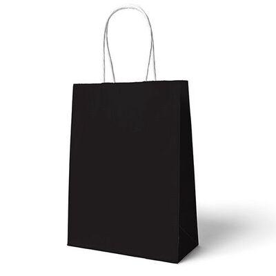 Siyah Büküm Saplı 6 Adet Hediye Çantası 22 x 24 cm