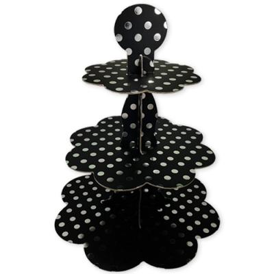 - Siyah Gümüş Puantiyeli Cupcake Standı