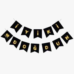 Parti Dünyası - Siyah Üzerine Gold Baskı İyi ki Doğdun Bayrak Afiş