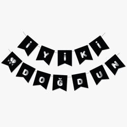 Parti - Siyah Üzerine Gümüş İyi ki Doğdun Bayrak Afiş