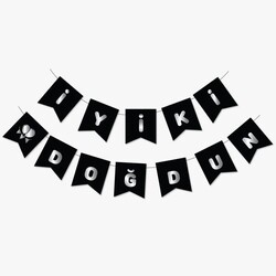 Parti Dünyası - Siyah Üzerine Gümüş İyi ki Doğdun Bayrak Afiş
