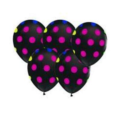Siyah Üzerine Karışık Renk Puanlı 10 lu Lateks Balon