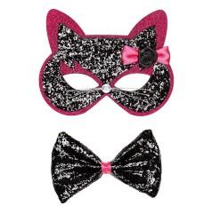 Parti - Siyah ve Pembe Pırıltılı Kedi Maskesi ve Papyonu