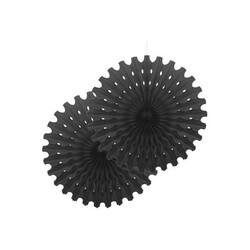 Parti Dünyası - Siyah Yelpaze Kağıt Süs 2 Adet 50 cm