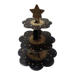 Parti Dünyası - Siyah Yıldız Puantiyeli Cupcake standı