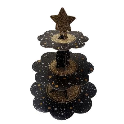 Siyah Yıldız Puantiyeli Cupcake standı