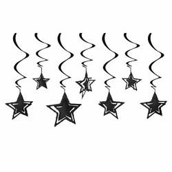 Parti - Siyah Yıldızlar Tavan Süsü 10 Adet / 3D