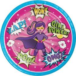 Parti Dünyası - Superhero Girl 8 li Tabak