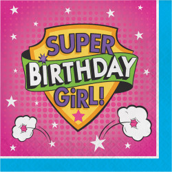 Parti Dünyası - Superhero Girl Happy Birthday 16 lı Peçete