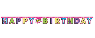 Superhero Girl Happy Birthday Harf Afiş