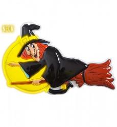 Parti Dünyası - Süpürgede Uçan Cadı Plastik Dekor 24 x 38 cm