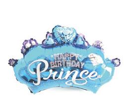 Parti Dünyası - Taç Happy Birthday Prince Mavi Jumbo Folyo Balon 81X48CM