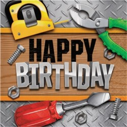 Parti Dünyası - Tamirci Partisi Happy Birthday 16 lı Peçete
