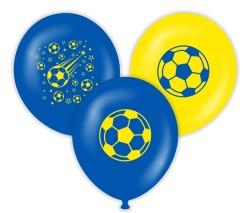 Parti - Taraftar Futbol Baskılı Latex Balon 10 Adet Sarı Lacivert