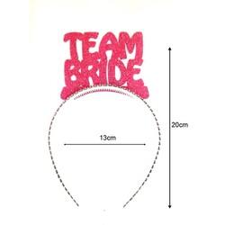 Parti - Team Bride Simli Fuşya Taç