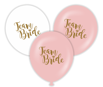 Parti - Team Bride Beyaz-Gold Baskılı 100 lü Latex Balon