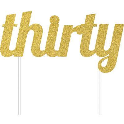 Thirty Simli Altın Renk Pasta-Kek Dekoru