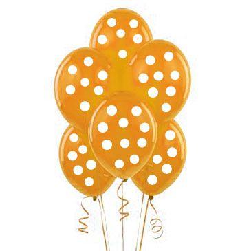 Turuncu-Beyaz Puanlı 10 lu Latex Balon