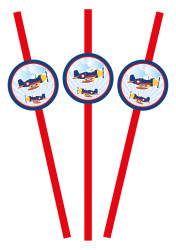 Parti - Uçaklar Partisi 10 lu Pipet