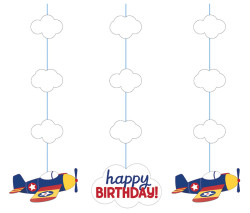 Parti Dünyası - Uçaklar Partisi 3 lü Asma Süs