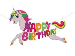 Parti Dünyası - Unicorn Renkli Happy Birthday Dev Afiş 1,5 Metre