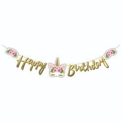 Parti Dünyası - Unicorn Çiçekli Happy Birthday Metalik Harf Afiş