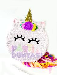 Parti Dünyası - Unicorn Çiçekli Şekilli Pinyata ve Sopası
