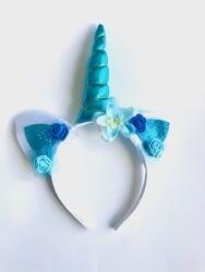 Parti Dünyası - Unicorn Çiçekli Taç Mavi Renk