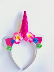 Parti Dünyası - Unicorn Çiçekli Taç Pembe Renk