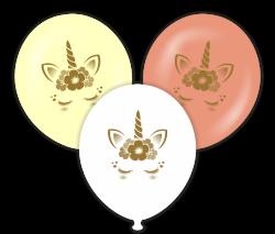 Parti - Unicorn Gold Baskılı Karışık Renkli Balon 6 Adet