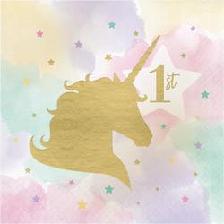 Parti Dünyası - Unicorn Partisi 1 Yaş Peçete 16 Adet