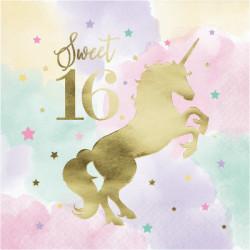 Parti - Unicorn Partisi Sweet 16 Peçete 16 Adet