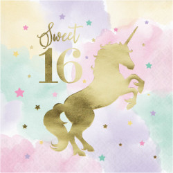 Parti Dünyası - Unicorn Partisi Sweet 16 Peçete 16 Adet