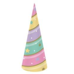 Parti Dünyası - Unicorn Partisi Pırıltılı Boynuz Görünümlü Şapka 8 Adet