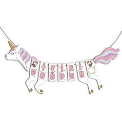 Parti Dünyası - Unicorn Partisi Şekilli İyi Ki Doğdun Flama 40 x 120 cm