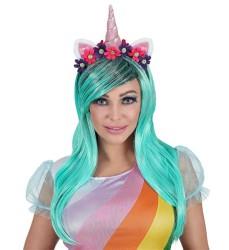 Parti Dünyası - Unicorn Peruğu Mavi Renk Boynuzlu, Çiçekli