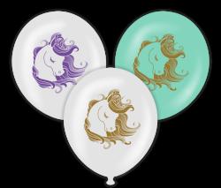 Parti - Unicorn Temalı Karşık Renk Baskılı Balon 6 Adet