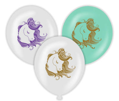 Unicorn Temalı Karşık Renk Baskılı Balon 6 Adet