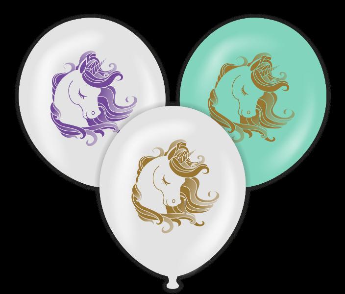Unicorn Temalı Baskılı Balon 6 Adet